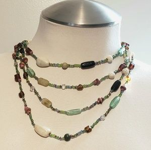 Glass Bead (4) Strand Necklace